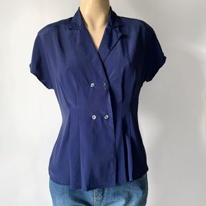 Vintage 80's Double Breasted Button Blouse